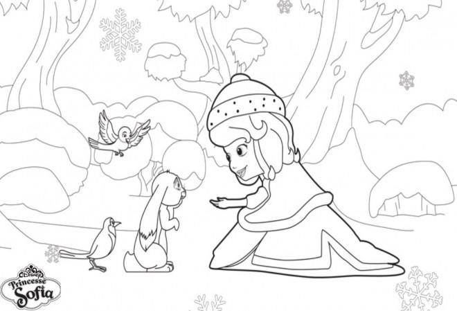 Coloriage et dessins gratuits Princesse Sofia aide Clever à imprimer