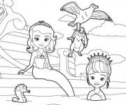 Coloriage Princesse Sofia avec la petite sirène