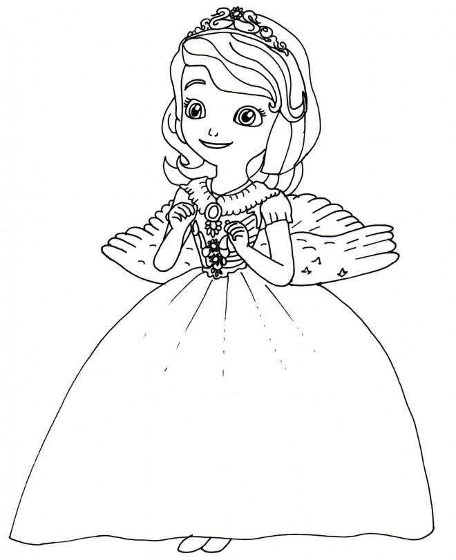 Coloriage et dessins gratuits Princesse Sofia est heureuse à imprimer