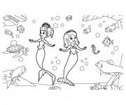 Coloriage et dessins gratuit Princesse Sofia et Amber en sirène à imprimer