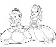 Coloriage et dessins gratuit Princesse Sofia et Amber peinture à imprimer