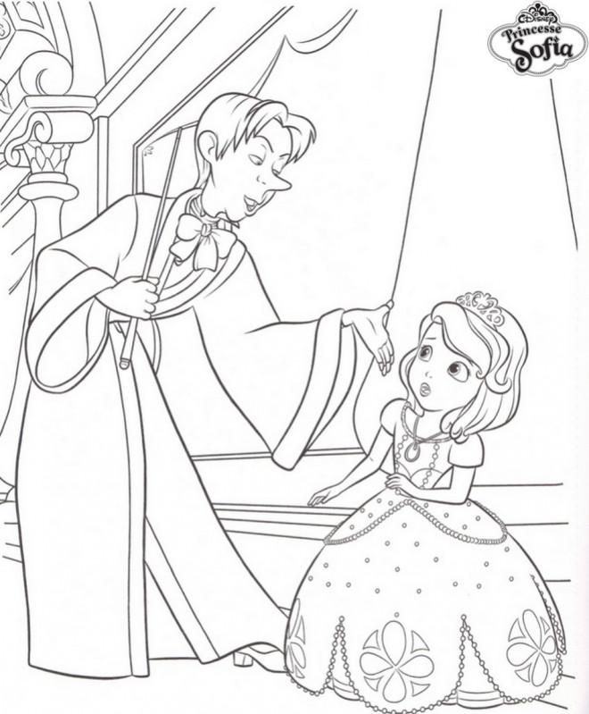 Coloriage princesse sofia et c dric le magicien - Telecharger princesse sofia ...