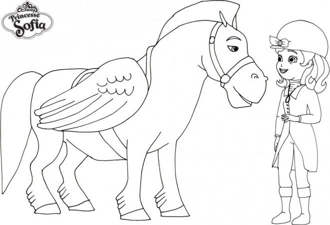 Coloriage et dessins gratuits Princesse Sofia et le cheval volant à imprimer