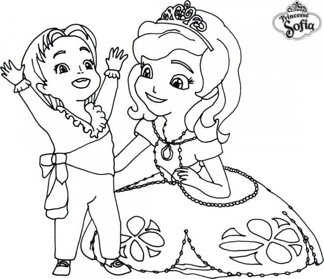 Coloriage Gratuit Princesse Sofia.Coloriage Princesse Sofia Et Prince James Dessin Gratuit A Imprimer