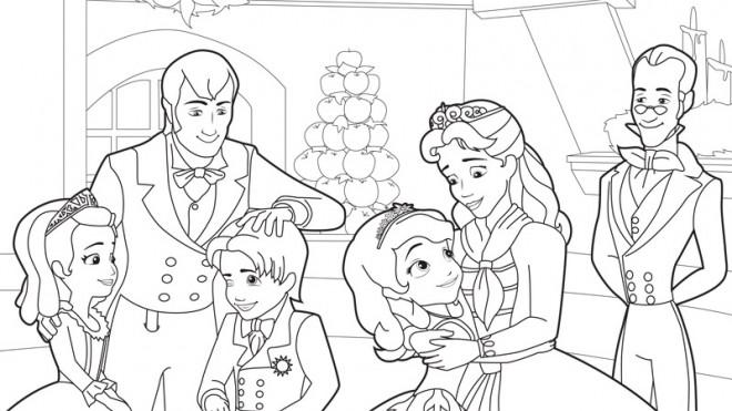 Coloriage et dessins gratuits Princesse Sofia et sa famille à imprimer