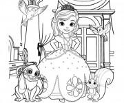 Coloriage Princesse Sofia et ses amis les animaux
