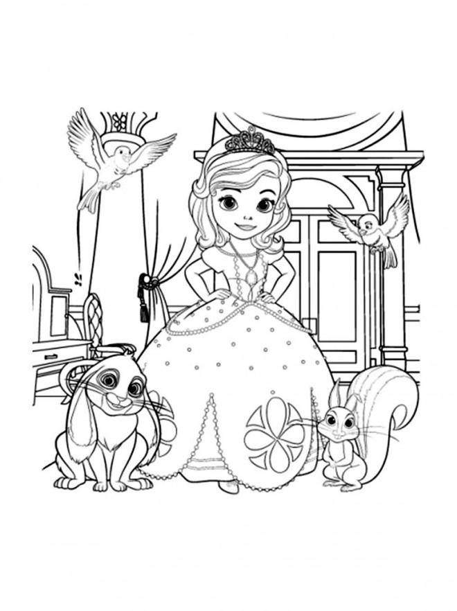 Coloriage et dessins gratuits Princesse Sofia et ses amis les animaux à imprimer