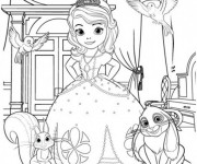 Coloriage et dessins gratuit Princesse Sofia et ses animaux à imprimer