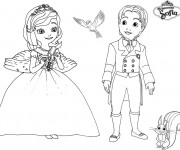 Coloriage Princesse Sofia, James, Mia et Clever