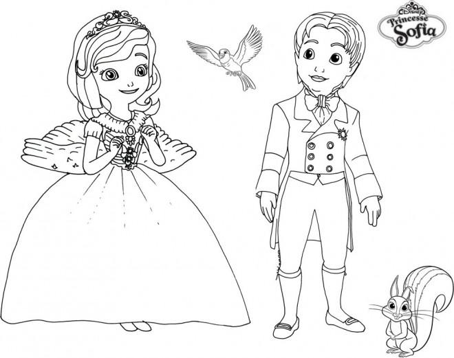 Coloriage et dessins gratuits Princesse Sofia, James, Mia et Clever à imprimer