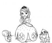 Coloriage Princesse Sofia, kiki l'écureuil et Clever le lapin