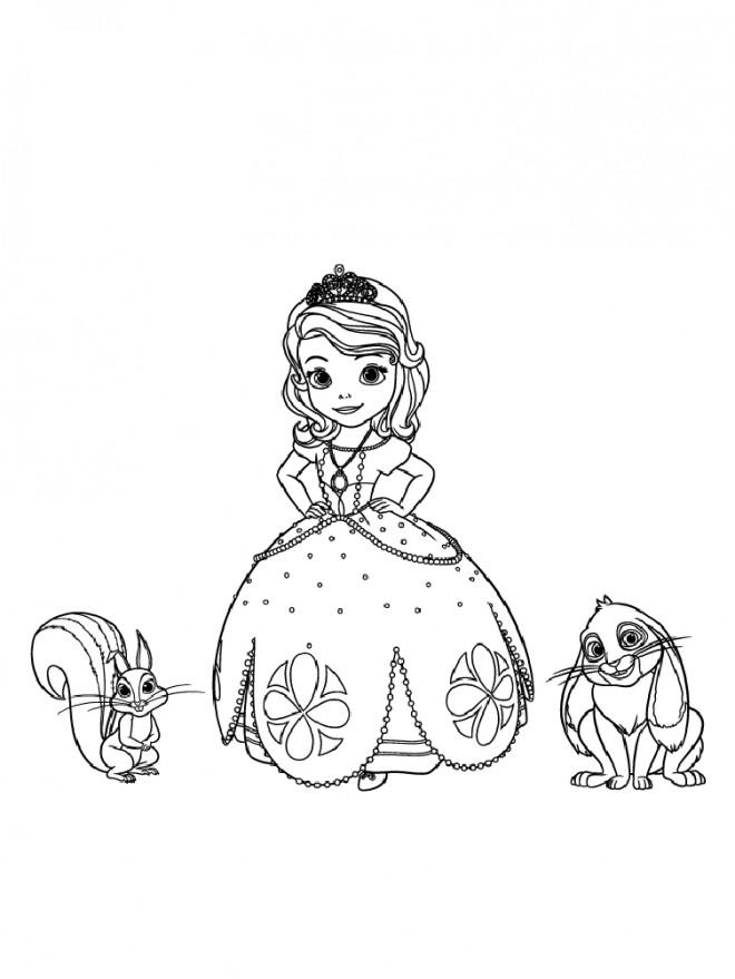 Coloriage Princesse Sofia Kiki L Ecureuil Et Clever Le Lapin