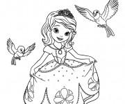 Coloriage et dessins gratuit Princesse Sofia parle aux oiseaux à imprimer