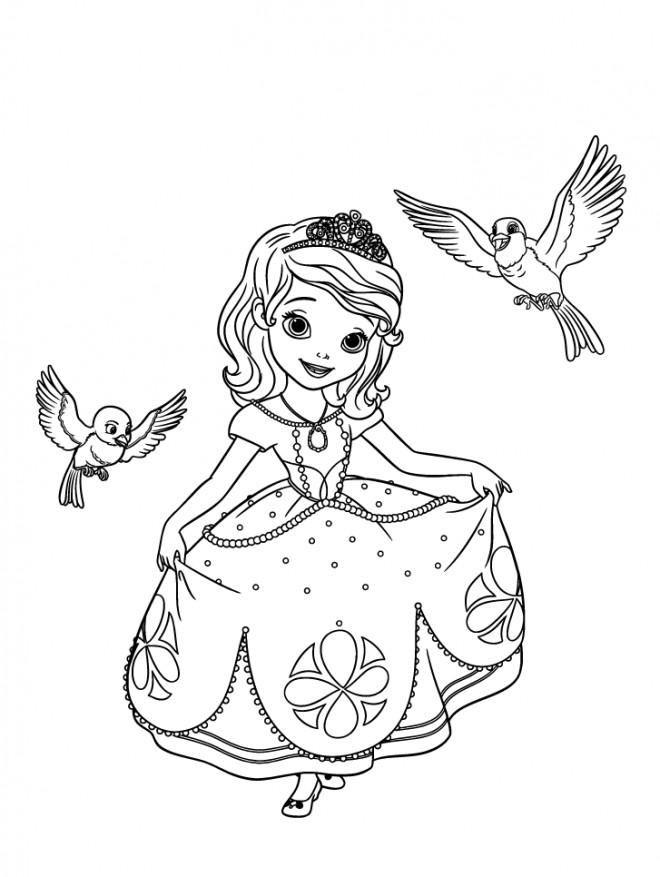 Coloriage princesse sofia parle aux oiseaux dessin gratuit - Telecharger princesse sofia ...