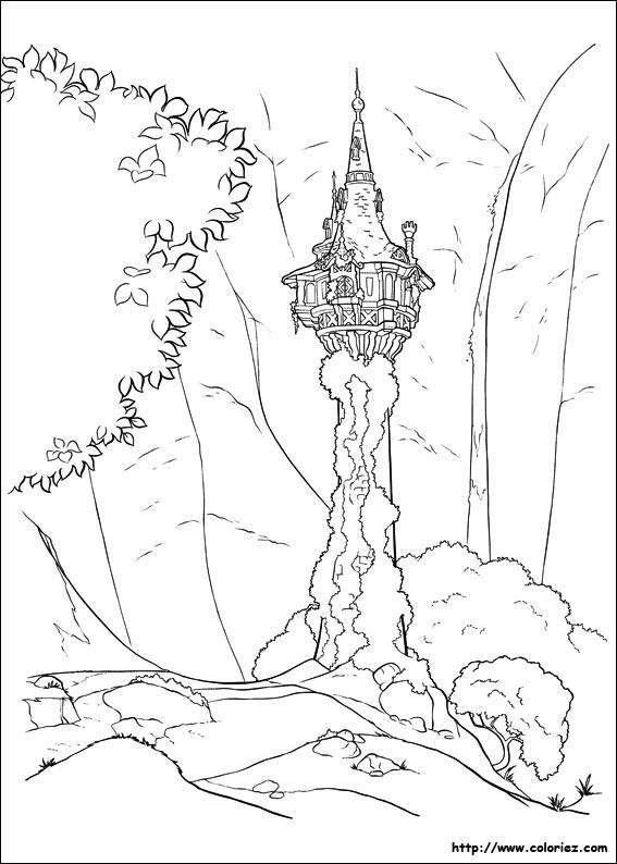 Coloriage et dessins gratuits La maison de Raiponce à imprimer