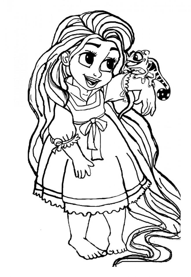 Coloriage petite raiponce dessin gratuit imprimer - Coloriage princesse facile ...