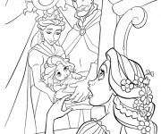 Coloriage Raiponce admire la photo de ses parents