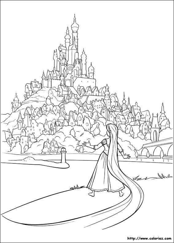 Coloriage et dessins gratuits Raiponce arrive au  royaume à imprimer