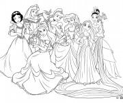 Coloriage et dessins gratuit Raiponce avec les autres princesses disney à imprimer