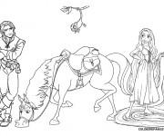 Coloriage Raiponce avec Maximus et Eugène
