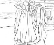 Coloriage et dessins gratuit Raiponce avec ses longs cheveux à imprimer