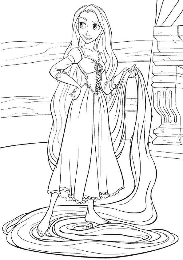 Coloriage et dessins gratuits Raiponce avec ses longs cheveux à imprimer