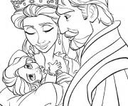 Coloriage et dessins gratuit Raiponce avec ses parents à imprimer