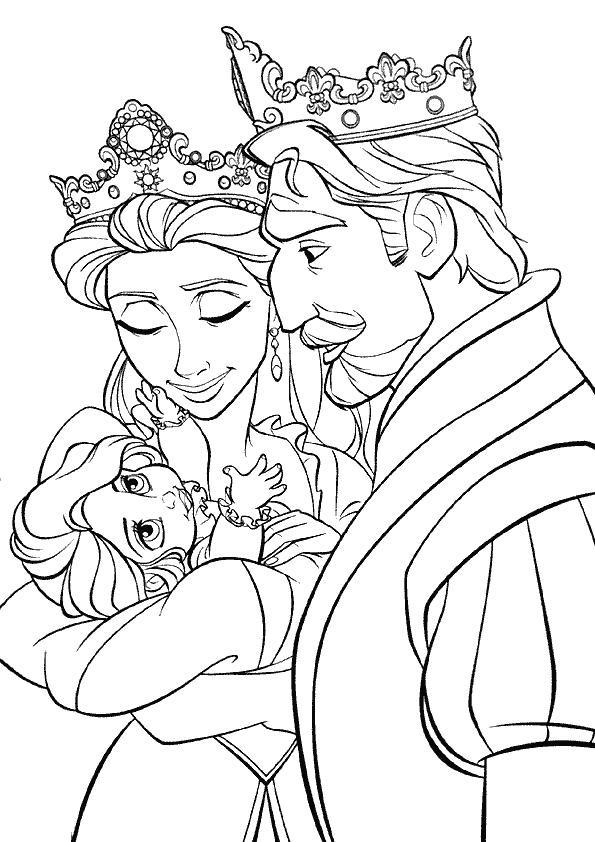 Coloriage et dessins gratuits Raiponce avec ses parents à imprimer