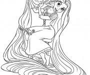 Coloriage et dessins gratuit Raiponce brosse ses cheveux avec Pascal à imprimer