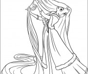Coloriage Raiponce brosse ses longs cheveux