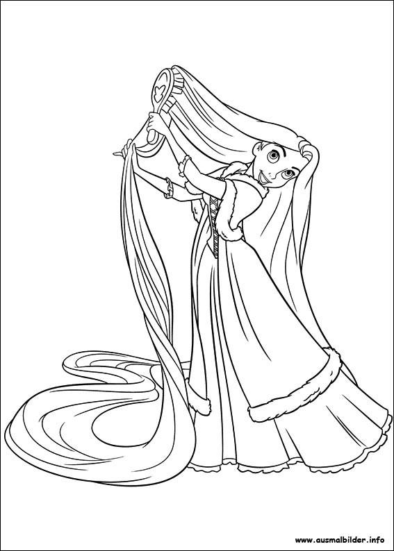 Coloriage et dessins gratuits Raiponce brosse ses longs cheveux à imprimer
