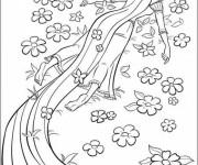 Coloriage et dessins gratuit Raiponce est contente en nature à imprimer