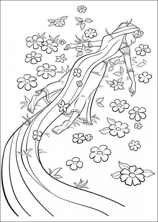 Coloriage et dessins gratuits Raiponce est contente en nature à imprimer