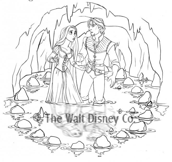 Coloriage et dessins gratuits Raiponce et Eugène dans une cave à imprimer