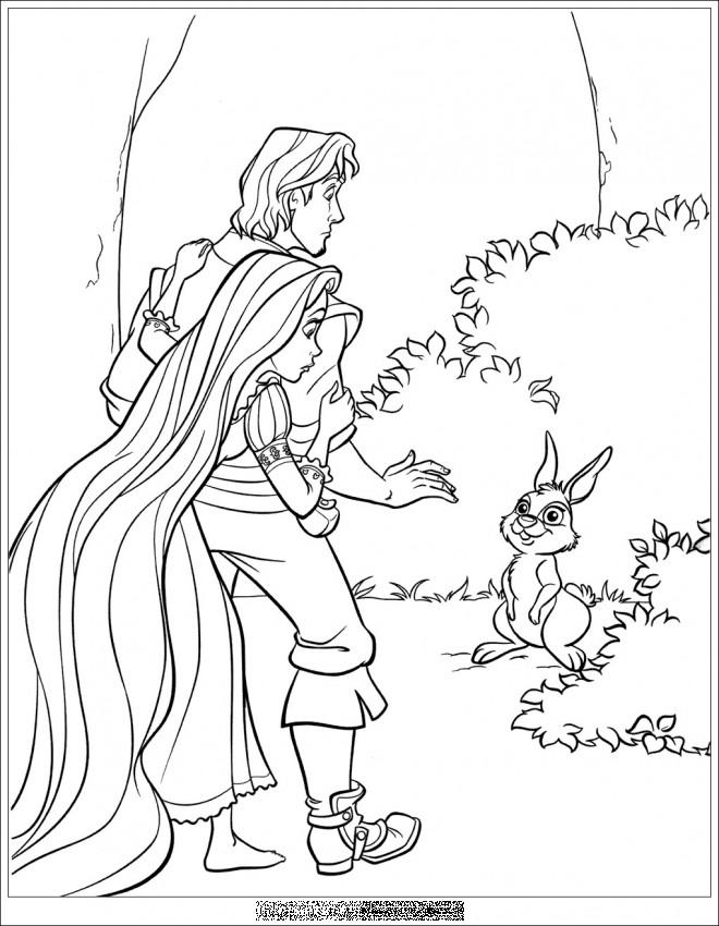 Coloriage et dessins gratuits Raiponce et Eugène découvre un lapin à imprimer