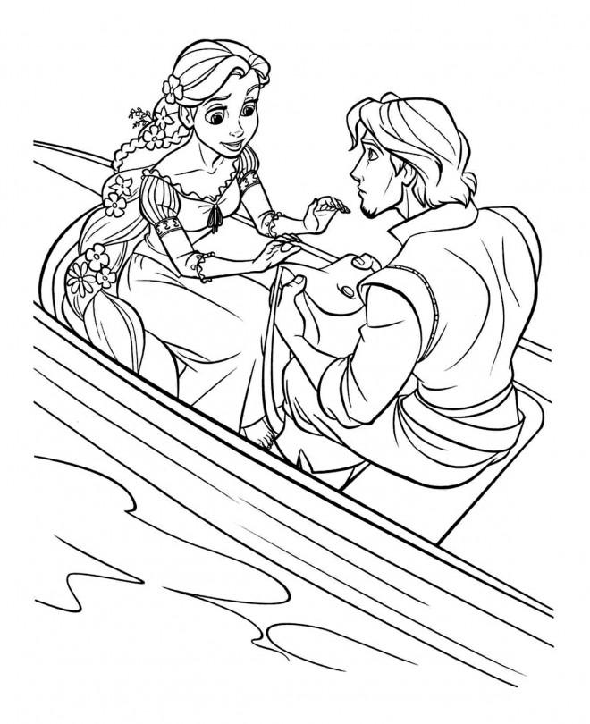 Coloriage et dessins gratuits Raiponce et Eugène en bateau à imprimer