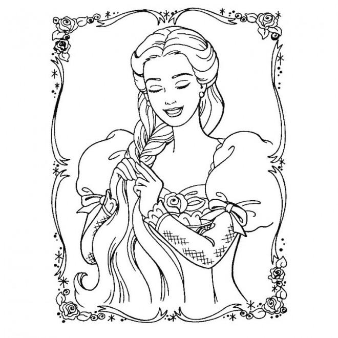 Coloriage raiponce fait un tresse de ses cheveux dessin gratuit imprimer - Coloriage raiponce gratuit ...