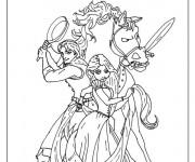 Coloriage et dessins gratuit Raiponce se prépare pour un combat à imprimer