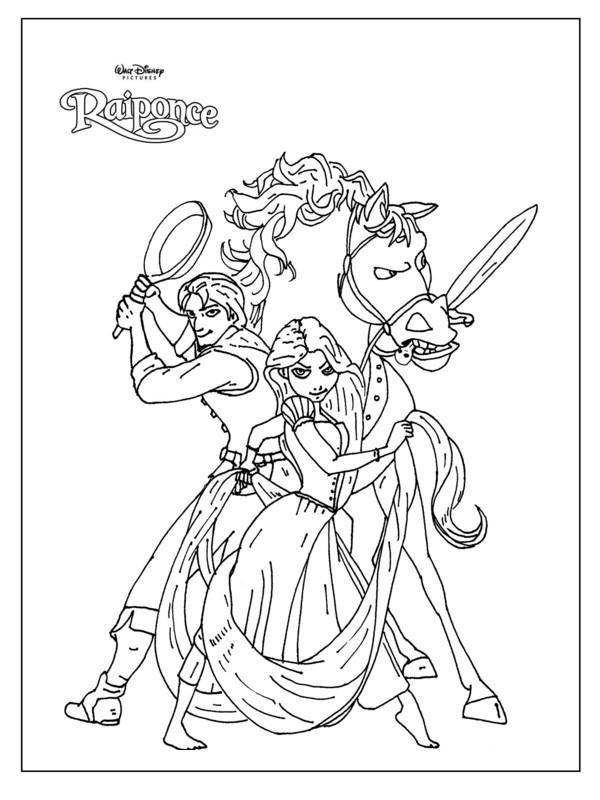 Coloriage et dessins gratuits Raiponce se prépare pour un combat à imprimer