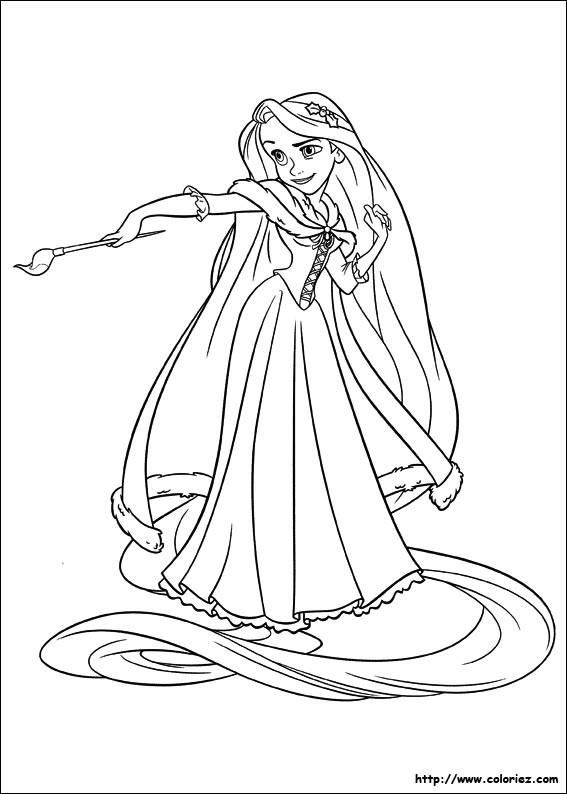 Coloriage et dessins gratuits Raiponce vise un pinceau à imprimer