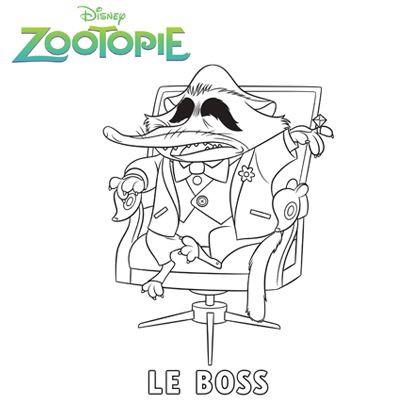 Coloriage et dessins gratuits Zootopie Le Boss à imprimer