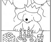 Coloriage et dessins gratuit Anniversaire de Chien pour enfant à imprimer