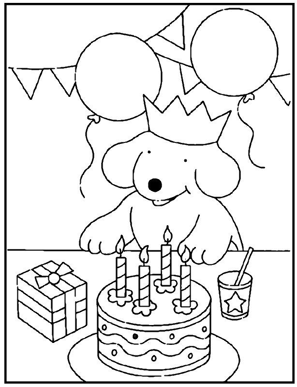 Coloriage et dessins gratuits Anniversaire de Chien pour enfant à imprimer