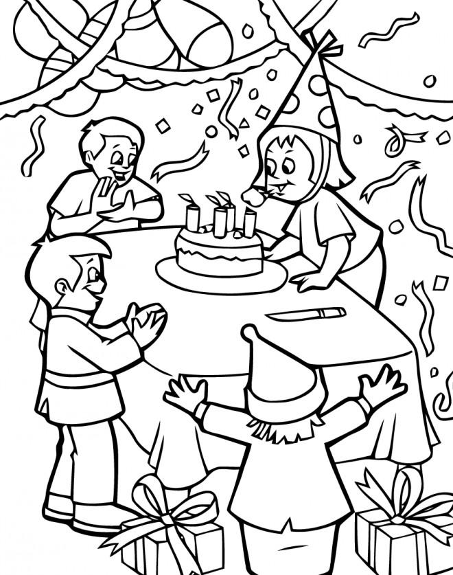 Coloriage et dessins gratuits Anniversaire six ans à imprimer