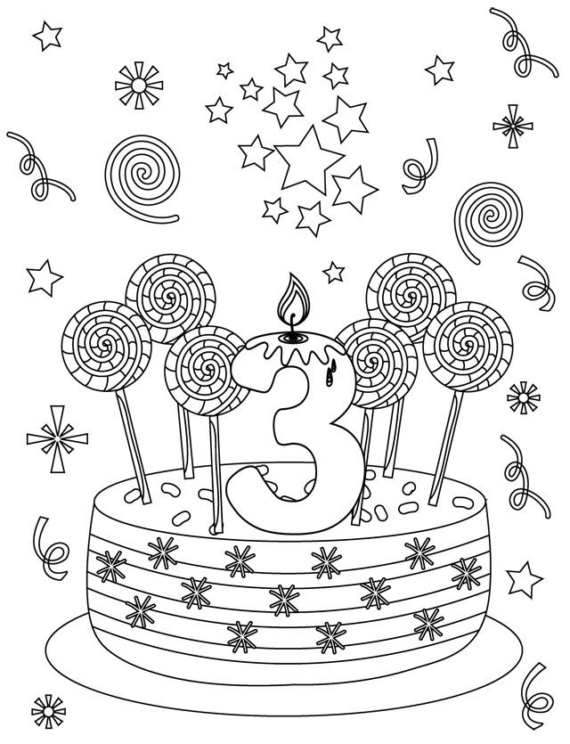 Coloriage et dessins gratuits Anniversaire trois ans à imprimer
