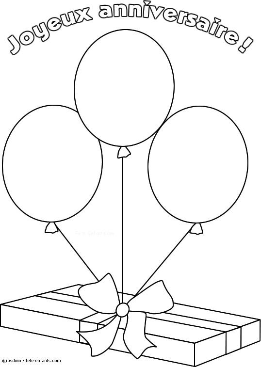 Coloriage cadeau d 39 anniversaire avec des ballons dessin - Dessin d anniversaire facile ...