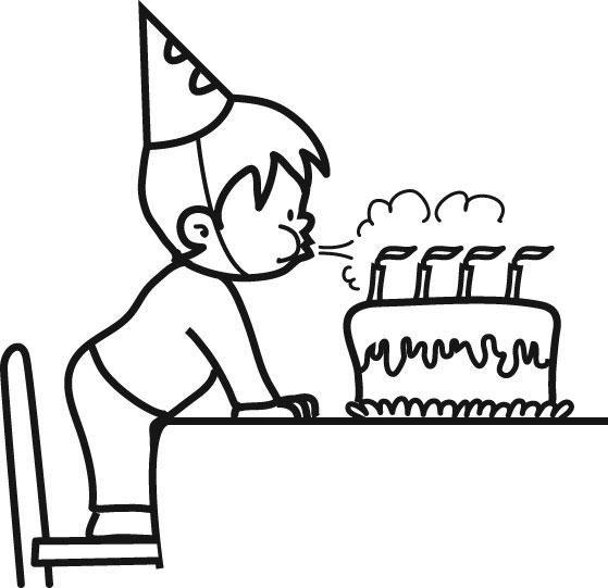 Coloriage enfant souffle ses bougies d 39 anniversaire - Dessin bougies anniversaire ...