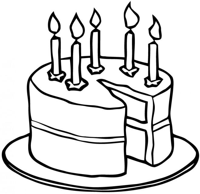 Coloriage et dessins gratuits Gâteau avec des bougies à imprimer