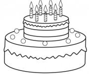 Coloriage et dessins gratuit Gâteau d'Anniversaire à découper à imprimer