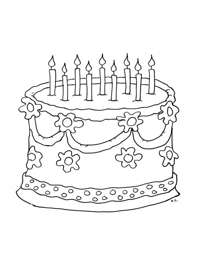 Coloriage et dessins gratuits Gâteau d'Anniversaire à télécharger à imprimer